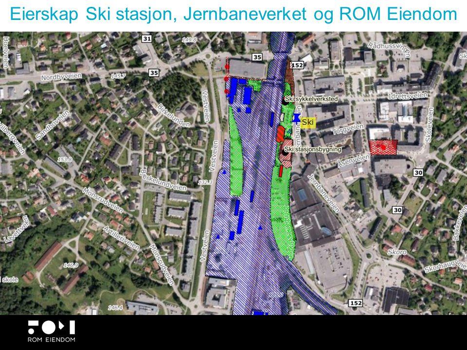Høy utnyttelse ved stasjonen, spørsmålet om parkering Ski tettsted.