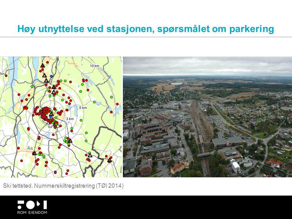 Høy utnyttelse ved stasjonen, spørsmålet om parkering Ski tettsted. Nummerskiltregistrering (TØI 2014)
