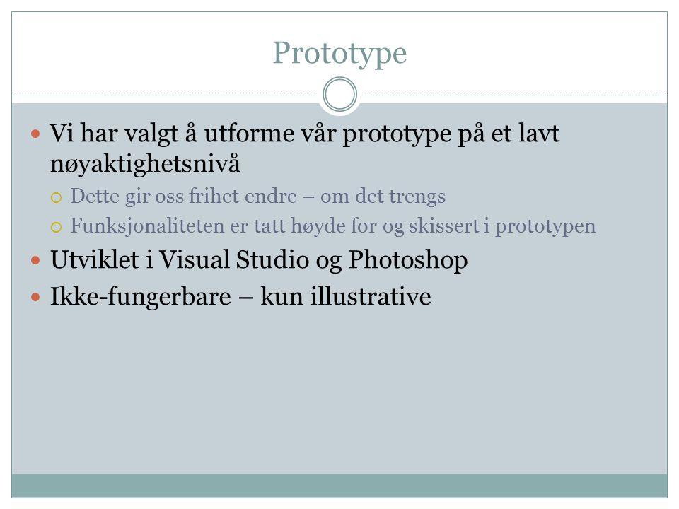 Prototype Vi har valgt å utforme vår prototype på et lavt nøyaktighetsnivå  Dette gir oss frihet endre – om det trengs  Funksjonaliteten er tatt høyde for og skissert i prototypen Utviklet i Visual Studio og Photoshop Ikke-fungerbare – kun illustrative