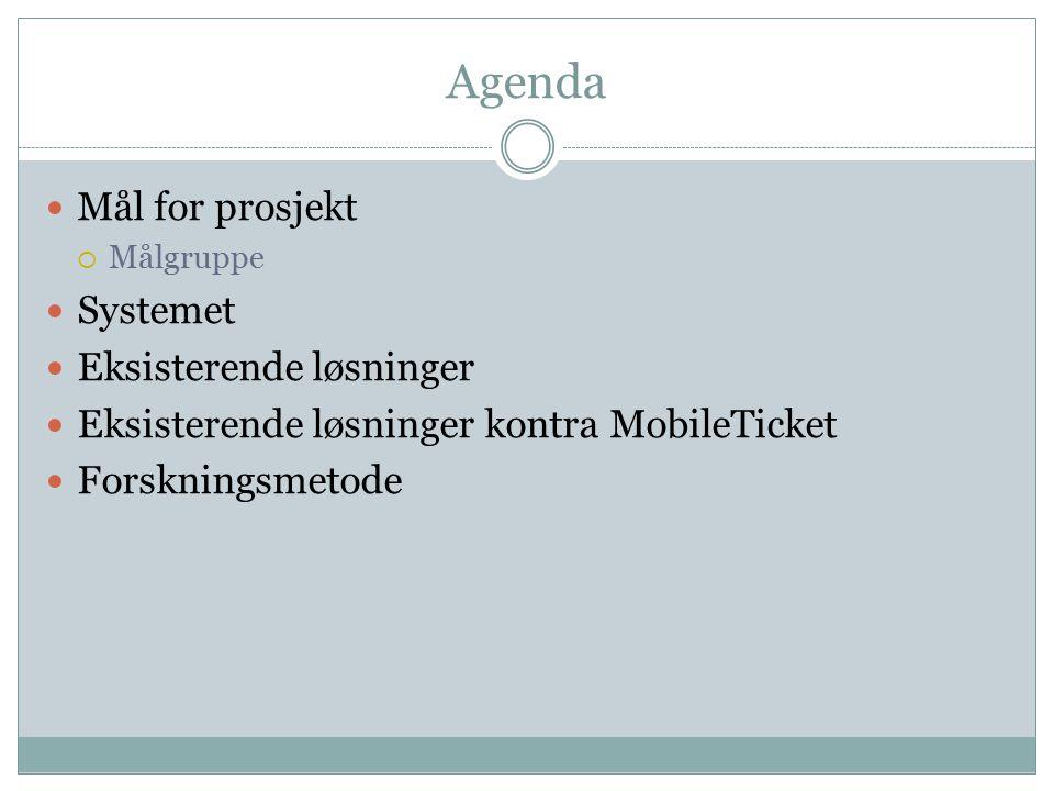 Agenda Mål for prosjekt  Målgruppe Systemet Eksisterende løsninger Eksisterende løsninger kontra MobileTicket Forskningsmetode