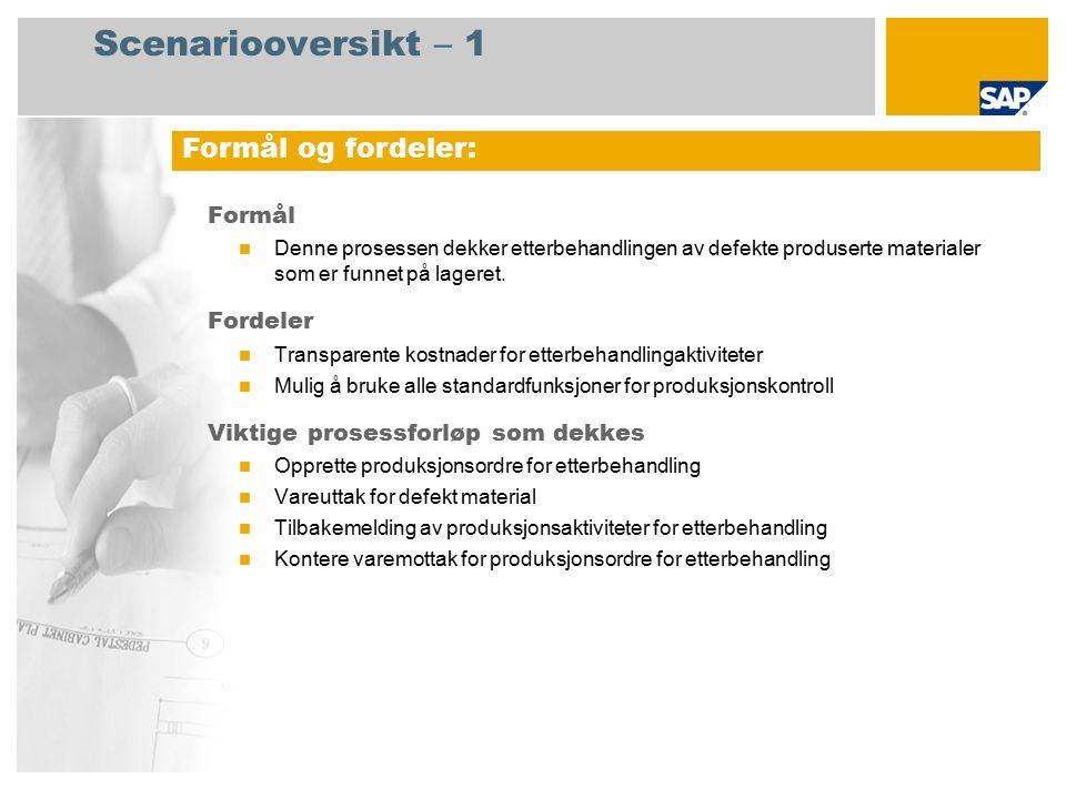 Scenariooversikt – 2 Obligatorisk SAP enhancement package 4 for SAP ERP 6.0 Brukerroller involvert i prosessforløp Produksjon Lagersjef Produksjonsplanlegger SAP-applikasjoner som kreves: