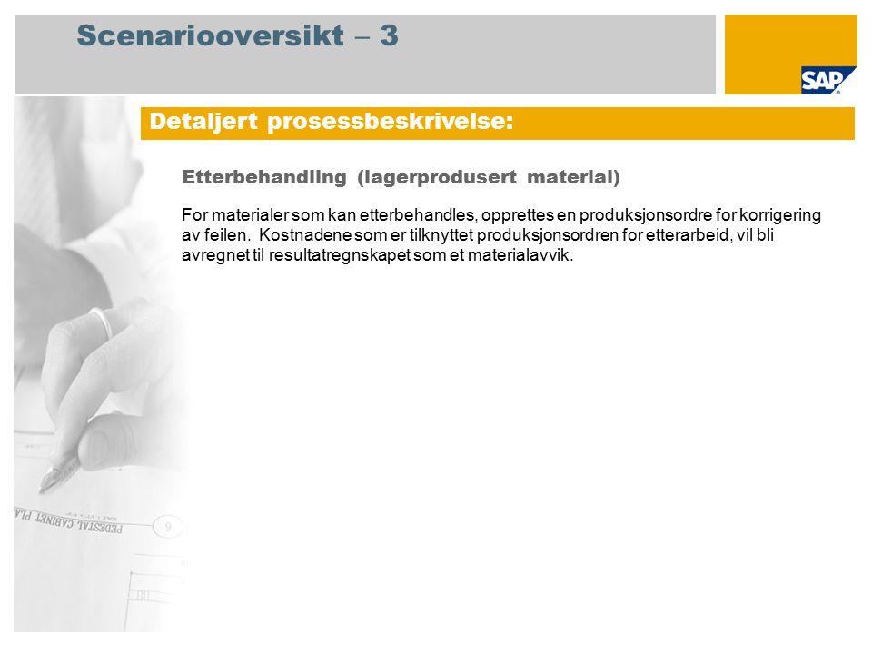 Scenariooversikt – 3 Etterbehandling (lagerprodusert material) For materialer som kan etterbehandles, opprettes en produksjonsordre for korrigering av
