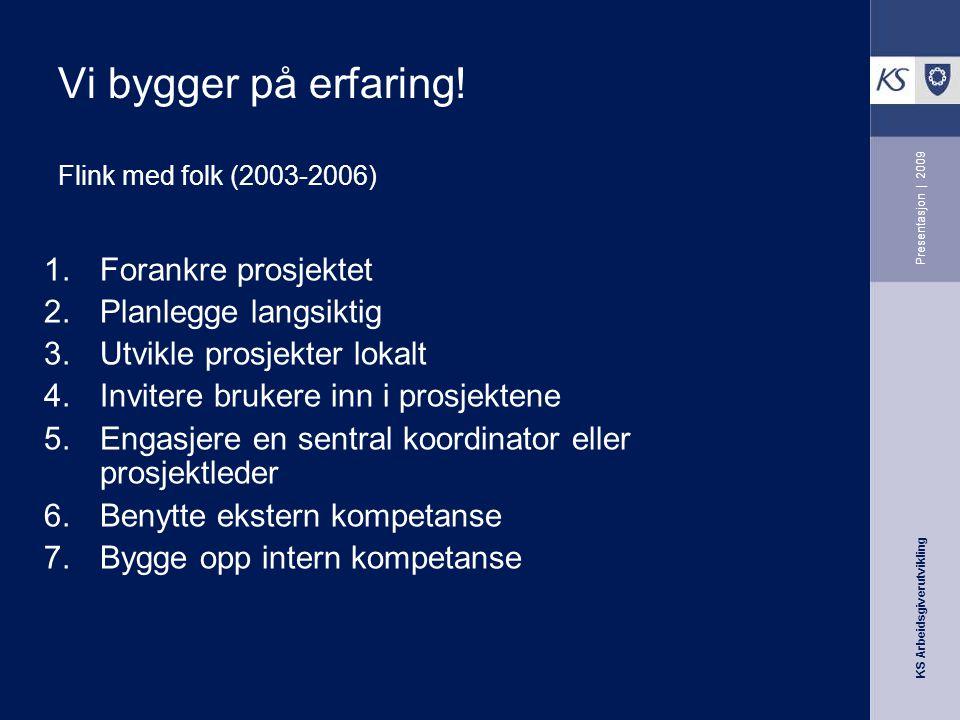 KS Arbeidsgiverutvikling Presentasjon | 2009 Vi bygger på erfaring! Flink med folk (2003-2006) 1.Forankre prosjektet 2.Planlegge langsiktig 3.Utvikle