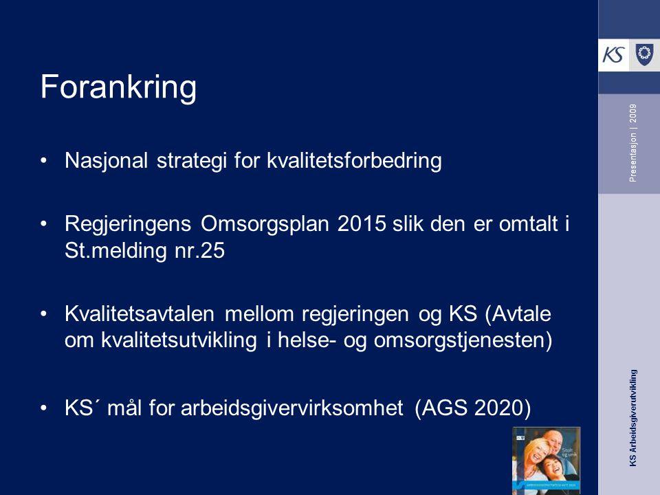 KS Arbeidsgiverutvikling Presentasjon | 2009 Forankring Nasjonal strategi for kvalitetsforbedring Regjeringens Omsorgsplan 2015 slik den er omtalt i St.melding nr.25 Kvalitetsavtalen mellom regjeringen og KS (Avtale om kvalitetsutvikling i helse- og omsorgstjenesten) KS´ mål for arbeidsgivervirksomhet (AGS 2020)