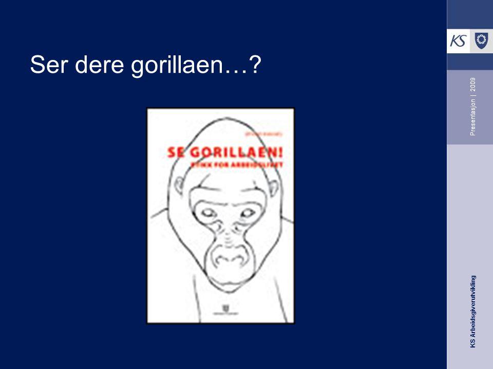 KS Arbeidsgiverutvikling Presentasjon | 2009 Ser dere gorillaen…