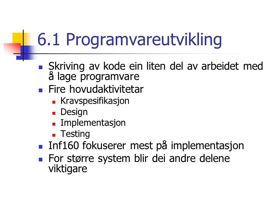6.1 Programvareutvikling Skriving av kode ein liten del av arbeidet med å lage programvare Fire hovudaktivitetar Kravspesifikasjon Design Implementasjon Testing Inf160 fokuserer mest på implementasjon For større system blir dei andre delene viktigare