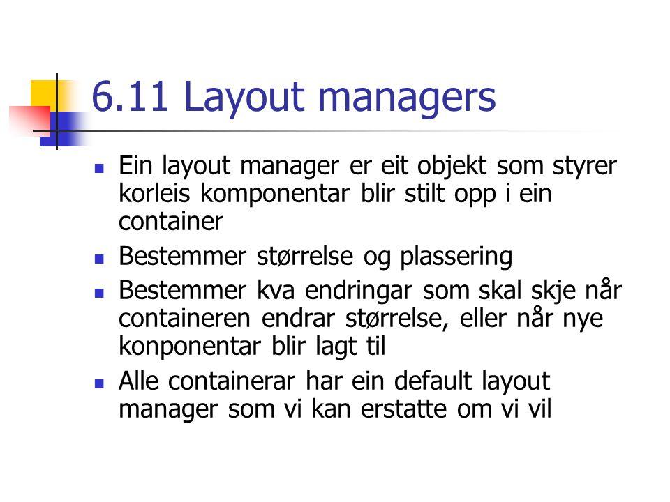6.11 Layout managers Ein layout manager er eit objekt som styrer korleis komponentar blir stilt opp i ein container Bestemmer størrelse og plassering Bestemmer kva endringar som skal skje når containeren endrar størrelse, eller når nye konponentar blir lagt til Alle containerar har ein default layout manager som vi kan erstatte om vi vil