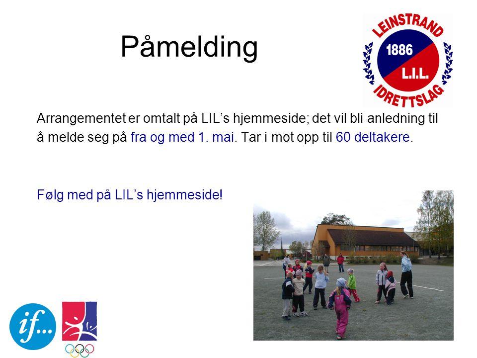 Påmelding Arrangementet er omtalt på LIL's hjemmeside; det vil bli anledning til å melde seg på fra og med 1.