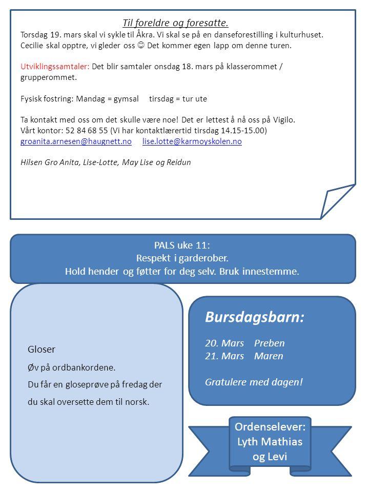 Til foreldre og foresatte. Torsdag 19. mars skal vi sykle til Åkra.