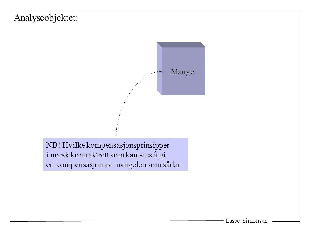 Lasse Simonsen Analyseobjektet: Mangel NB! Hvilke kompensasjonsprinsipper i norsk kontraktrett som kan sies å gi en kompensasjon av mangelen som sådan