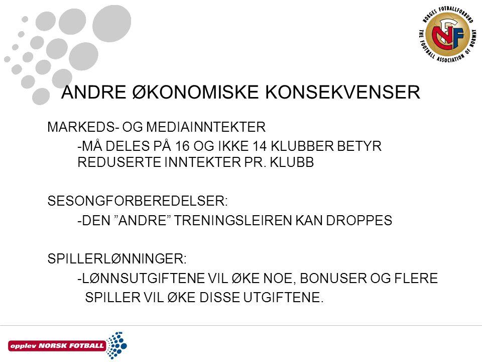 ANDRE ØKONOMISKE KONSEKVENSER MARKEDS- OG MEDIAINNTEKTER -MÅ DELES PÅ 16 OG IKKE 14 KLUBBER BETYR REDUSERTE INNTEKTER PR.