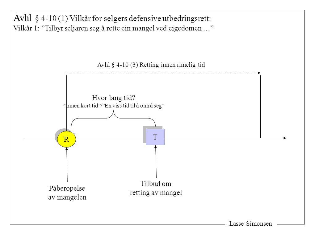 Lasse Simonsen Avhl § 4-10 (1) Vilkår for selgers defensive utbedringsrett: Vilkår 1: Tilbyr seljaren seg å rette ein mangel ved eigedomen … R R Påberopelse av mangelen T T Tilbud om retting av mangel Hvor lang tid.
