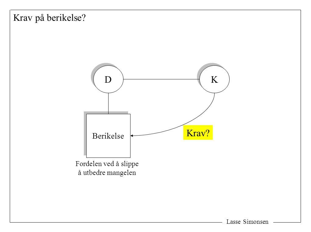 Lasse Simonsen Krav på berikelse D D K K Berikelse Fordelen ved å slippe å utbedre mangelen Krav