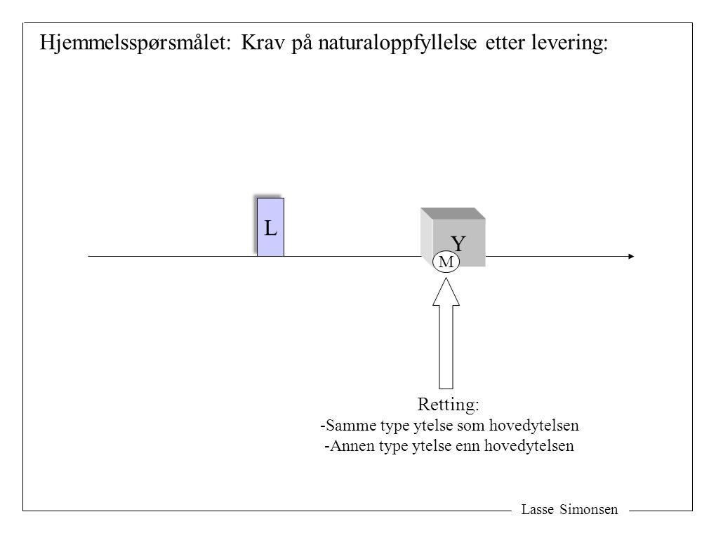 Lasse Simonsen L L Y Retting: -Samme type ytelse som hovedytelsen -Annen type ytelse enn hovedytelsen M Hjemmelsspørsmålet: Krav på naturaloppfyllelse etter levering: