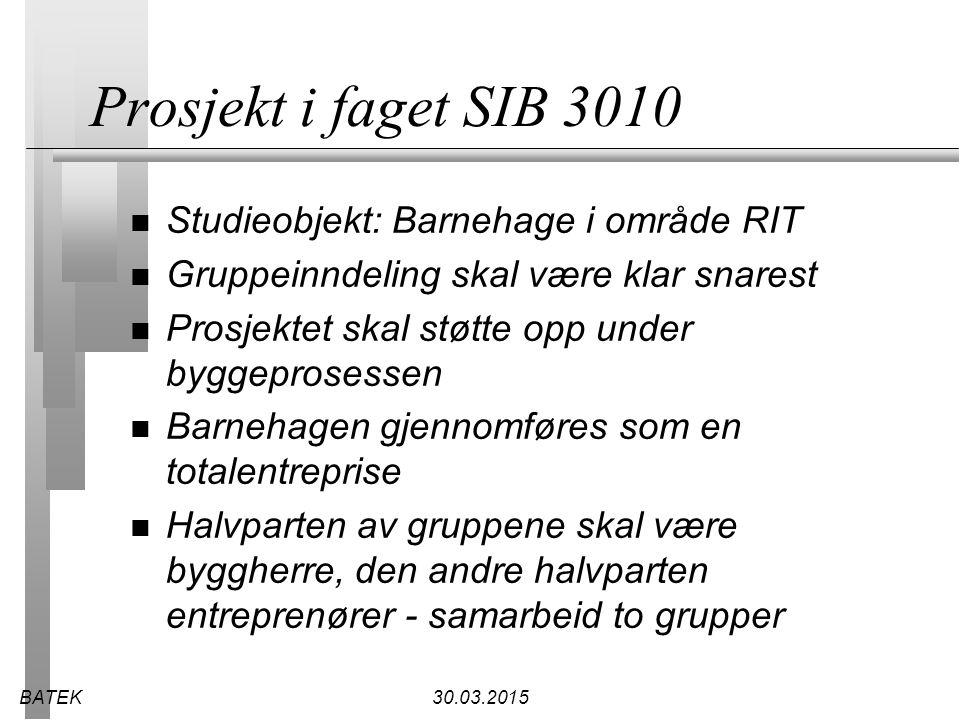 BATEK30.03.2015 Hovedentrepriser n Byggherren kontrakt med hovedentreprenør, hver sideentreprenør og rådgiver.