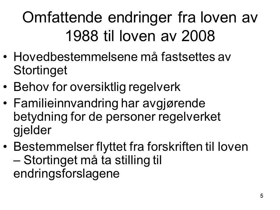 5 Omfattende endringer fra loven av 1988 til loven av 2008 Hovedbestemmelsene må fastsettes av Stortinget Behov for oversiktlig regelverk Familieinnva