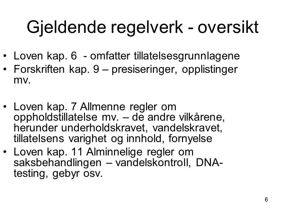 17 § 42 Oppholdstillatelse for barn Hovedregelen barn under 18 år, rettighetsbestemmelse Barnets beste et viktig hensyn, men kan være vanskelig å vurdere Foreldreansvar, samtykke og unntak fra kravet om samtykke – kompliserte vurderinger i enkelte tilfeller Fireårskravet i § 40a gjelder ikke når barnet er søker Adoptivbarn og Den europeiske sosialpakt av 1961 Ingen forskriftsbestemmelser inntil videre