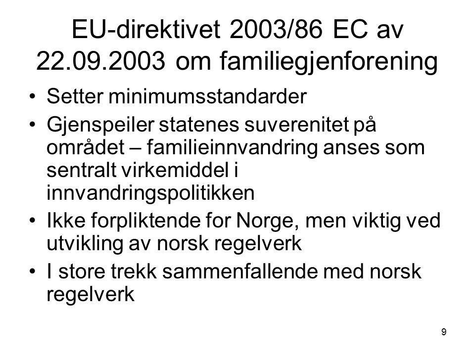 9 EU-direktivet 2003/86 EC av 22.09.2003 om familiegjenforening Setter minimumsstandarder Gjenspeiler statenes suverenitet på området – familieinnvand