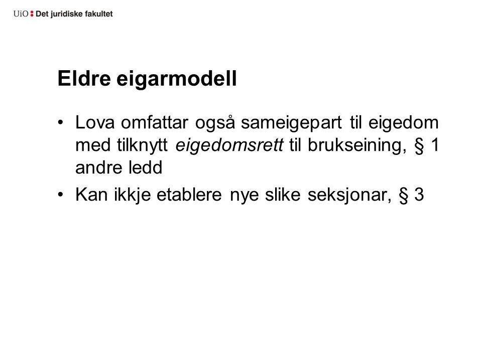 Irregulære seksjonar Bakgrunn –forbodslova 1976 –standardkrav i 1983-lova –kjøperett etter 1983-lova Mange etablerte «eigerett med sameigepart» osv.