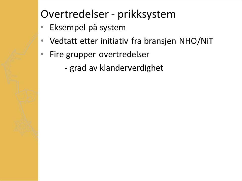 Overtredelser - prikksystem Eksempel på system Vedtatt etter initiativ fra bransjen NHO/NiT Fire grupper overtredelser - grad av klanderverdighet