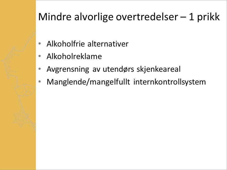 Alvorlige overtredelser – 2 til 4 prikker Brudd på godkjent skjenkeareal Vakter uten godkjent ordensvaktbevis Mindre brudd på salgs-, skjenke- eller konsumtid Drikking på godkjent salgsareal (butikk) Drikking av medbrakt på godkjent skjenkeareal