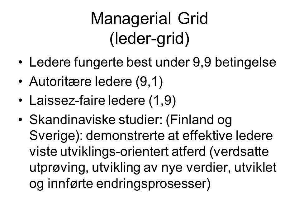 Managerial Grid (leder-grid) Ledere fungerte best under 9,9 betingelse Autoritære ledere (9,1) Laissez-faire ledere (1,9) Skandinaviske studier: (Finland og Sverige): demonstrerte at effektive ledere viste utviklings-orientert atferd (verdsatte utprøving, utvikling av nye verdier, utviklet og innførte endringsprosesser)