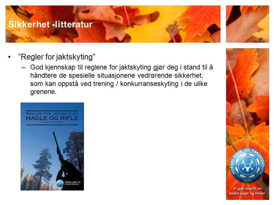 """Sikkerhet -litteratur """"Regler for jaktskyting"""" –God kjennskap til reglene for jaktskyting gjør deg i stand til å håndtere de spesielle situasjonene ve"""