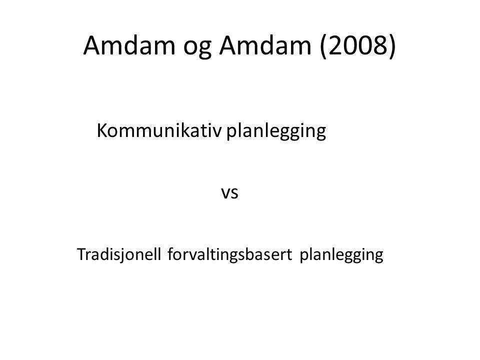 Amdam og Amdam (2008) Kommunikativ planlegging vs Tradisjonell forvaltingsbasert planlegging