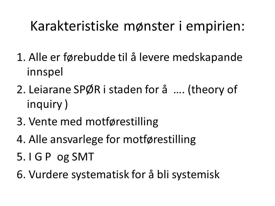 Karakteristiske mønster i empirien: 1.Alle er førebudde til å levere medskapande innspel 2.