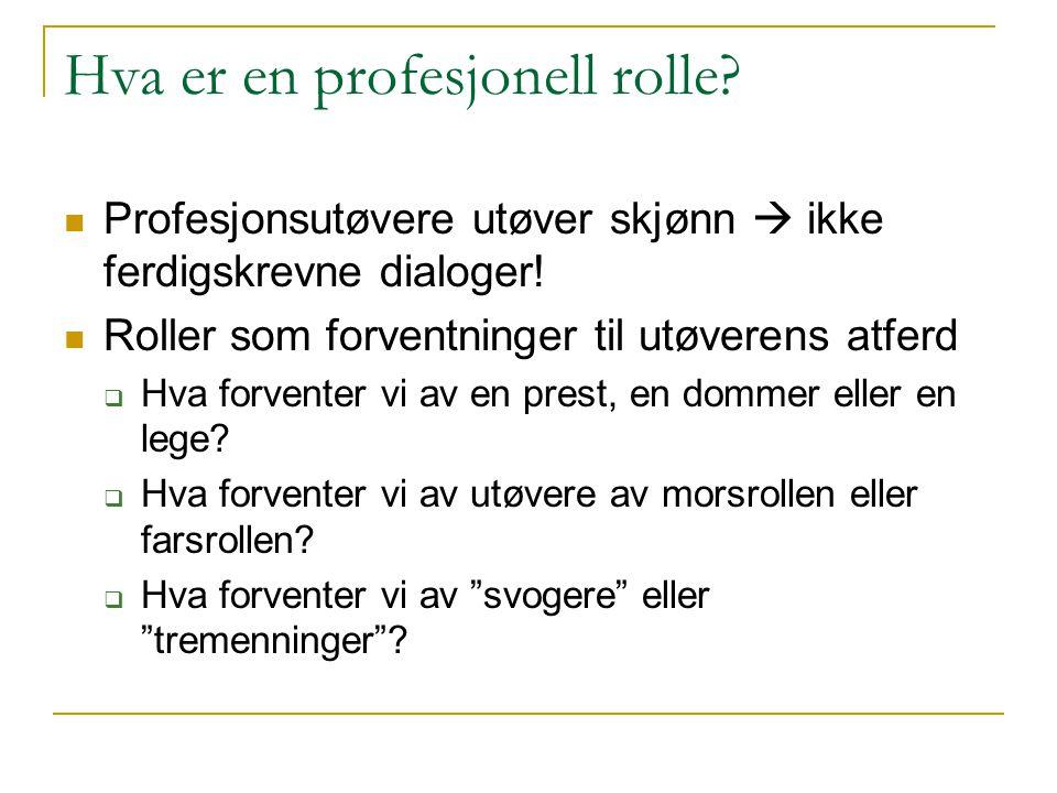 Hva er en profesjonell rolle? Profesjonsutøvere utøver skjønn  ikke ferdigskrevne dialoger! Roller som forventninger til utøverens atferd  Hva forve