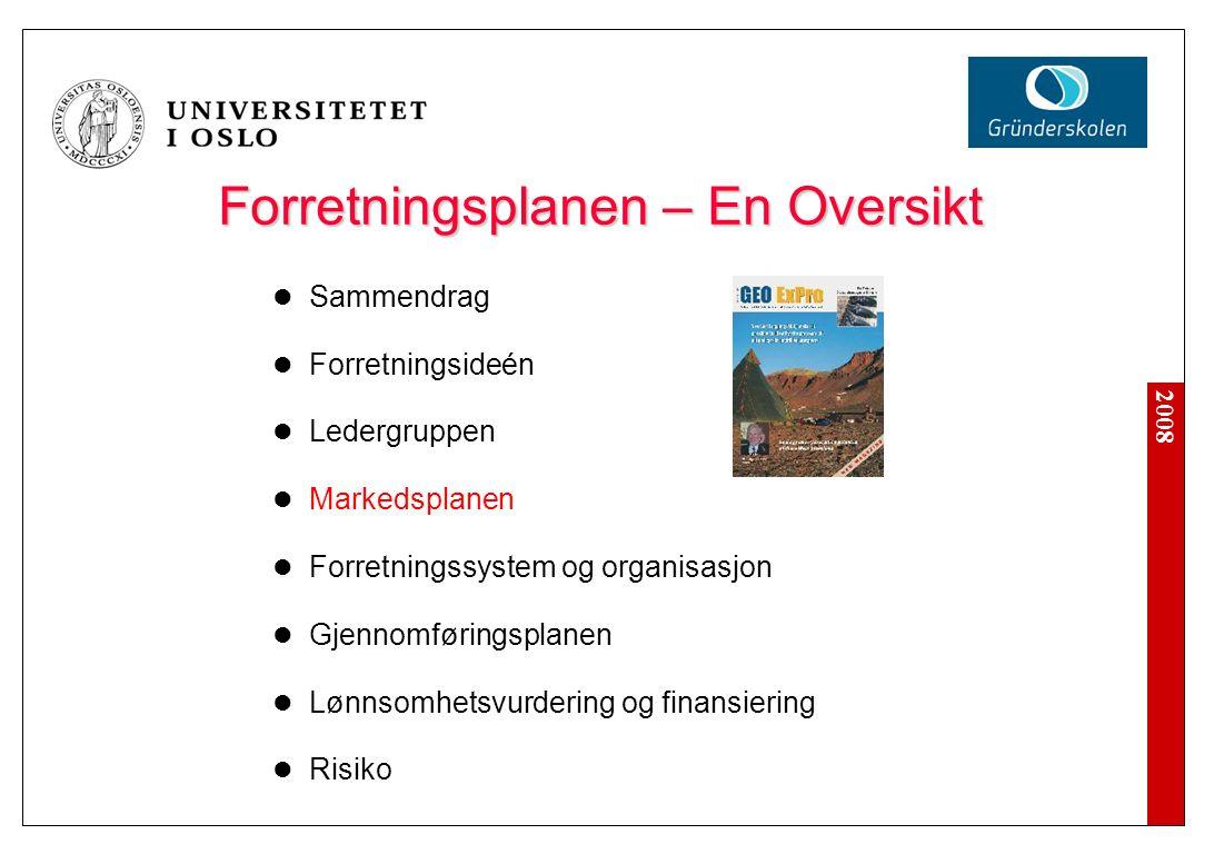 2008 Forretningsplanen – En Oversikt Sammendrag Forretningsideén Ledergruppen Markedsplanen Forretningssystem og organisasjon Gjennomføringsplanen Lønnsomhetsvurdering og finansiering Risiko