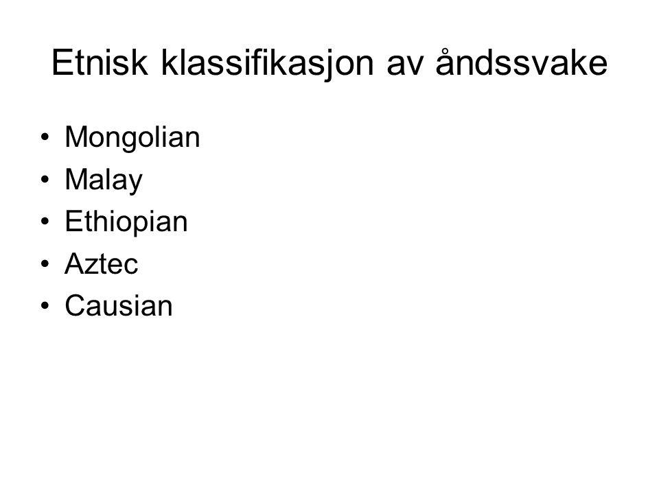 Etnisk klassifikasjon av åndssvake Mongolian Malay Ethiopian Aztec Causian