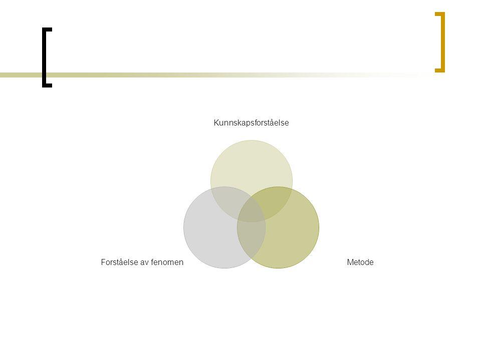 Kunnskapsforståelse Metode Forståelse av fenomen