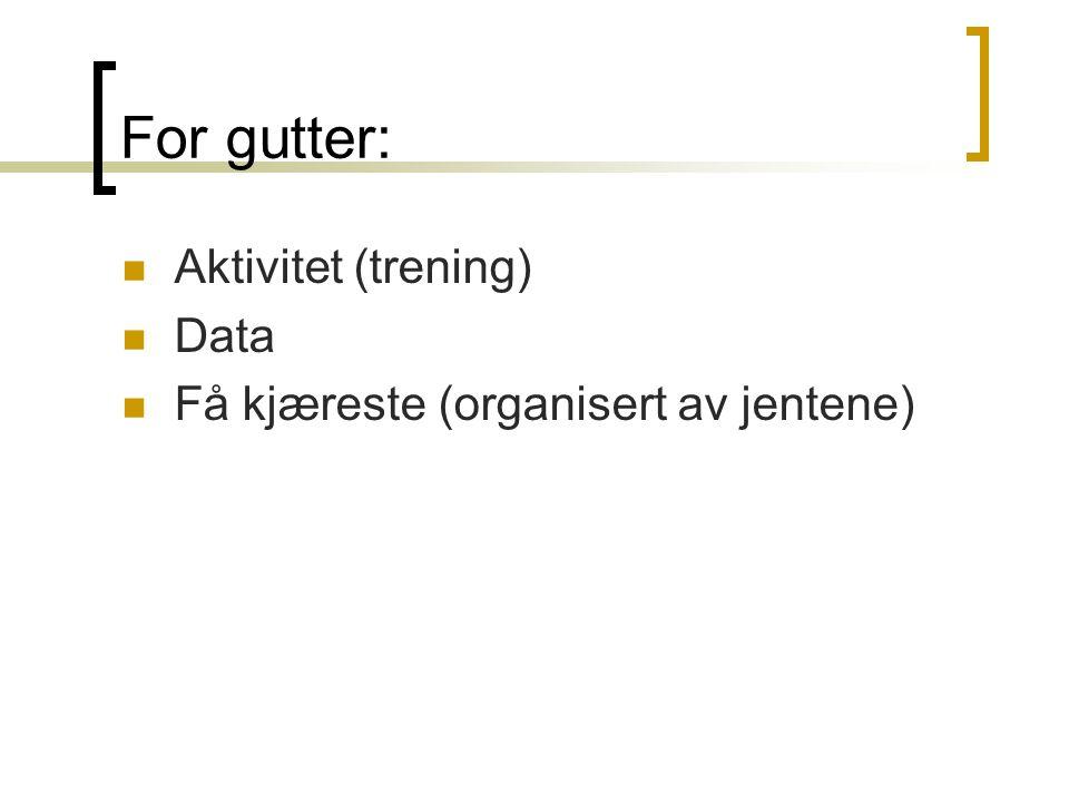 For gutter: Aktivitet (trening) Data Få kjæreste (organisert av jentene)