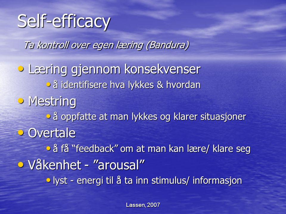 Lassen, 2007 Self-efficacy Ta kontroll over egen læring (Bandura) Læring gjennom konsekvenser Læring gjennom konsekvenser å identifisere hva lykkes &