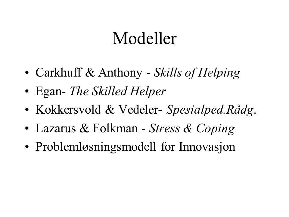 Modeller Carkhuff & Anthony - Skills of Helping Egan- The Skilled Helper Kokkersvold & Vedeler- Spesialped.Rådg. Lazarus & Folkman - Stress & Coping P