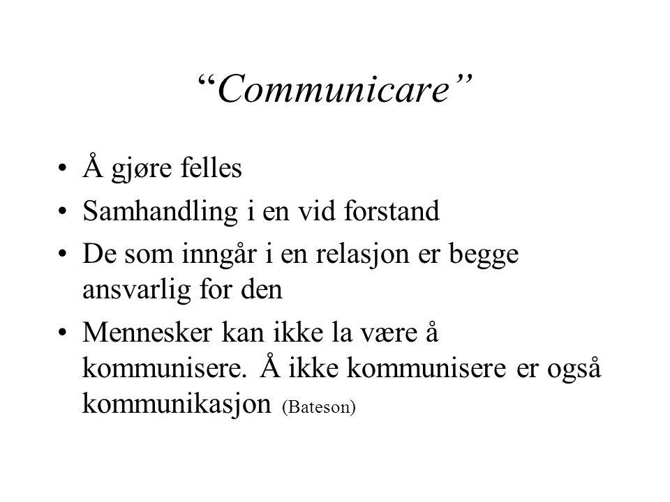 """""""Communicare"""" Å gjøre felles Samhandling i en vid forstand De som inngår i en relasjon er begge ansvarlig for den Mennesker kan ikke la være å kommuni"""