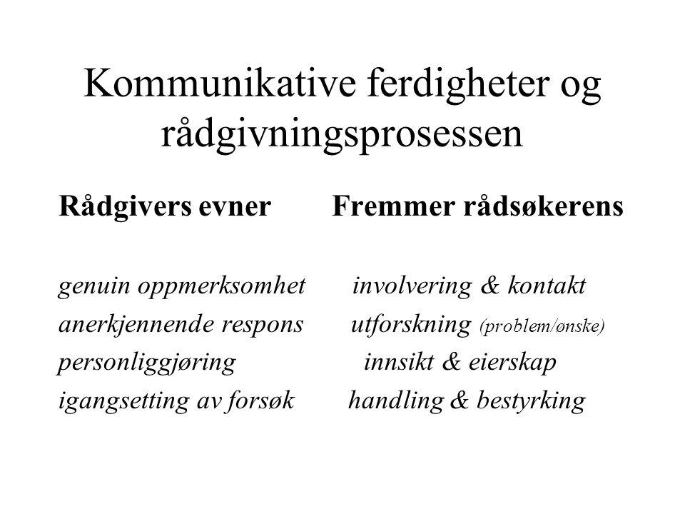 Kommunikative ferdigheter og rådgivningsprosessen Rådgivers evner Fremmer rådsøkerens genuin oppmerksomhet involvering & kontakt anerkjennende respons