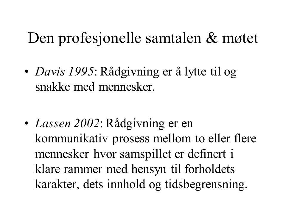 Den profesjonelle samtalen & møtet Davis 1995: Rådgivning er å lytte til og snakke med mennesker. Lassen 2002: Rådgivning er en kommunikativ prosess m