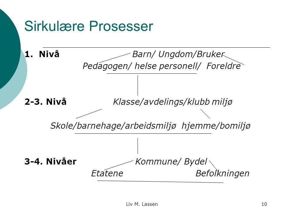 Liv M. Lassen10 Sirkulære Prosesser 1. Nivå Barn/ Ungdom/Bruker Pedagogen/ helse personell/ Foreldre 2-3. Nivå Klasse/avdelings/klubb miljø Skole/barn