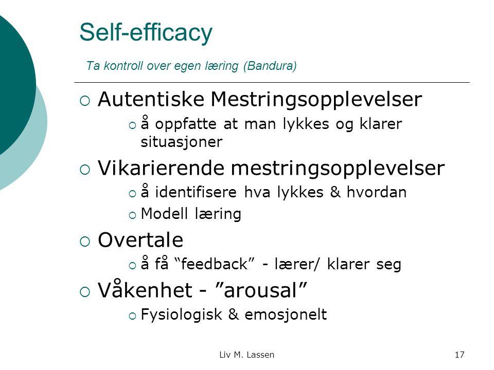 Liv M. Lassen17 Self-efficacy Ta kontroll over egen læring (Bandura)  Autentiske Mestringsopplevelser  å oppfatte at man lykkes og klarer situasjone