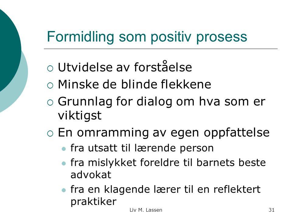 Liv M. Lassen31 Formidling som positiv prosess  Utvidelse av forståelse  Minske de blinde flekkene  Grunnlag for dialog om hva som er viktigst  En