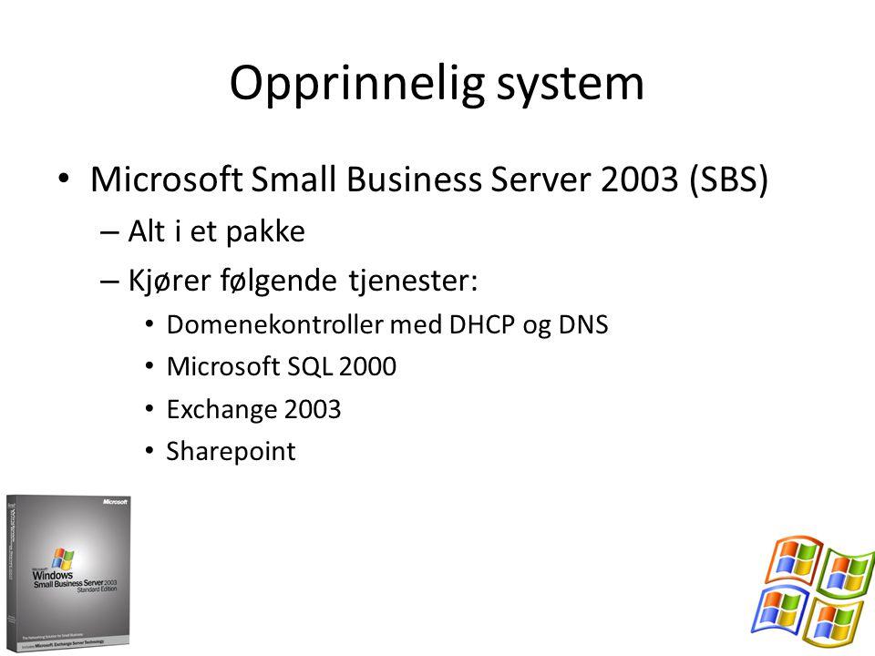 Opprinnelig system Microsoft Small Business Server 2003 (SBS) – Alt i et pakke – Kjører følgende tjenester: Domenekontroller med DHCP og DNS Microsoft SQL 2000 Exchange 2003 Sharepoint
