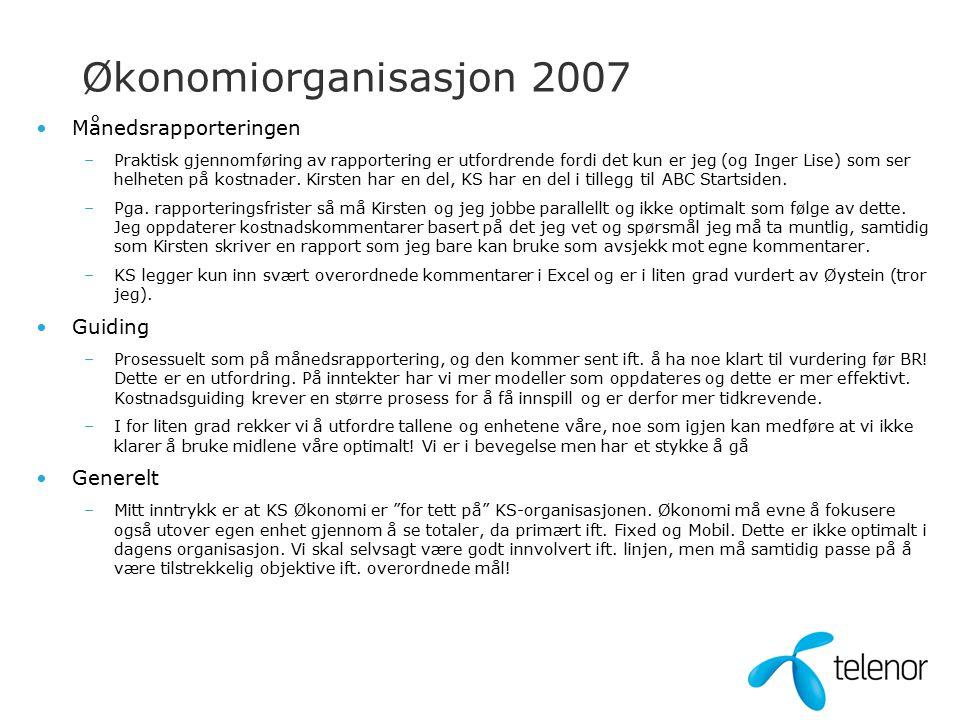 Økonomiorganisasjon 2007 Månedsrapporteringen –Praktisk gjennomføring av rapportering er utfordrende fordi det kun er jeg (og Inger Lise) som ser helheten på kostnader.