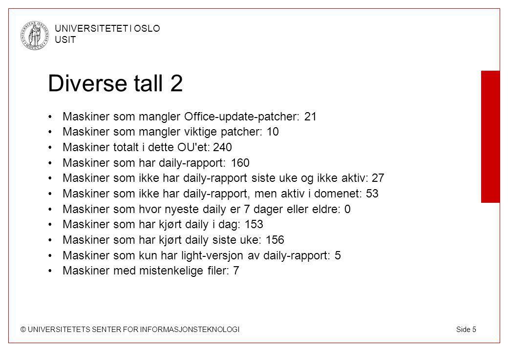 © UNIVERSITETETS SENTER FOR INFORMASJONSTEKNOLOGI UNIVERSITETET I OSLO USIT Side 5 Diverse tall 2 Maskiner som mangler Office-update-patcher: 21 Maski