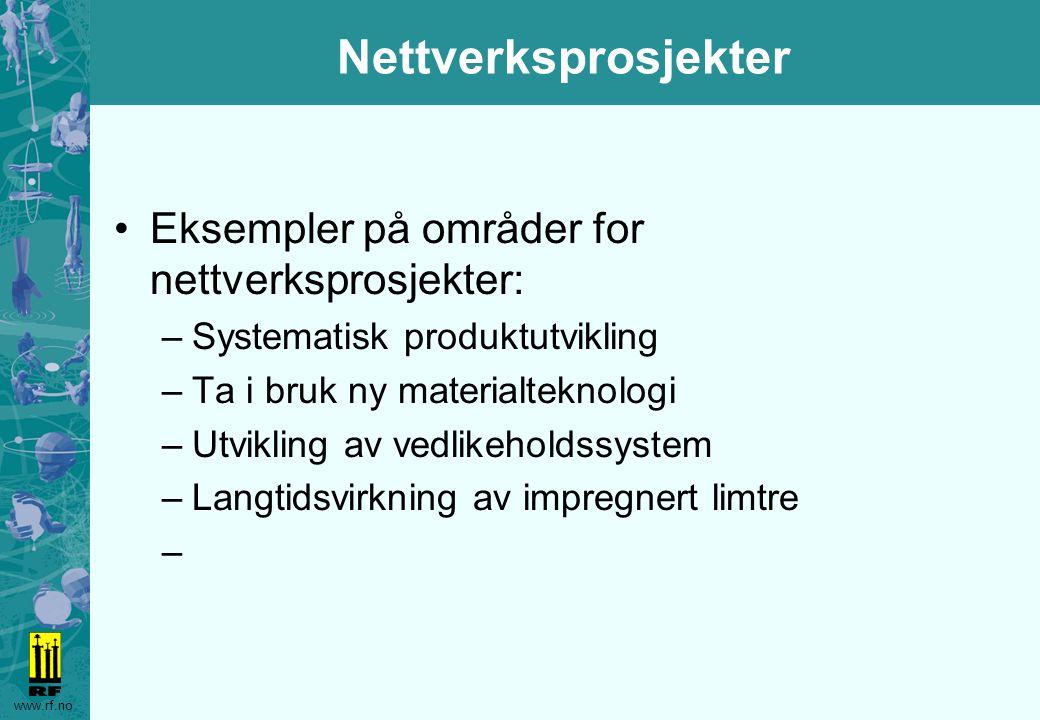 www.rf.no Nettverksprosjekter Eksempler på områder for nettverksprosjekter: –Systematisk produktutvikling –Ta i bruk ny materialteknologi –Utvikling av vedlikeholdssystem –Langtidsvirkning av impregnert limtre –