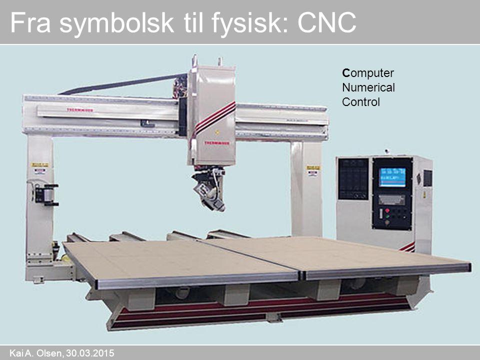 Kai A. Olsen, 30.03.2015 19 Fra symbolsk til fysisk: CNC Computer Numerical Control