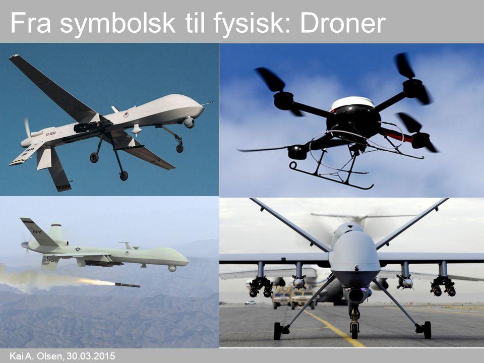 Kai A. Olsen, 30.03.2015 21 Fra symbolsk til fysisk: Droner