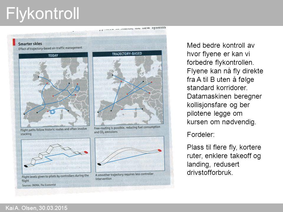 Kai A. Olsen, 30.03.2015 22 Flykontroll Med bedre kontroll av hvor flyene er kan vi forbedre flykontrollen. Flyene kan nå fly direkte fra A til B uten