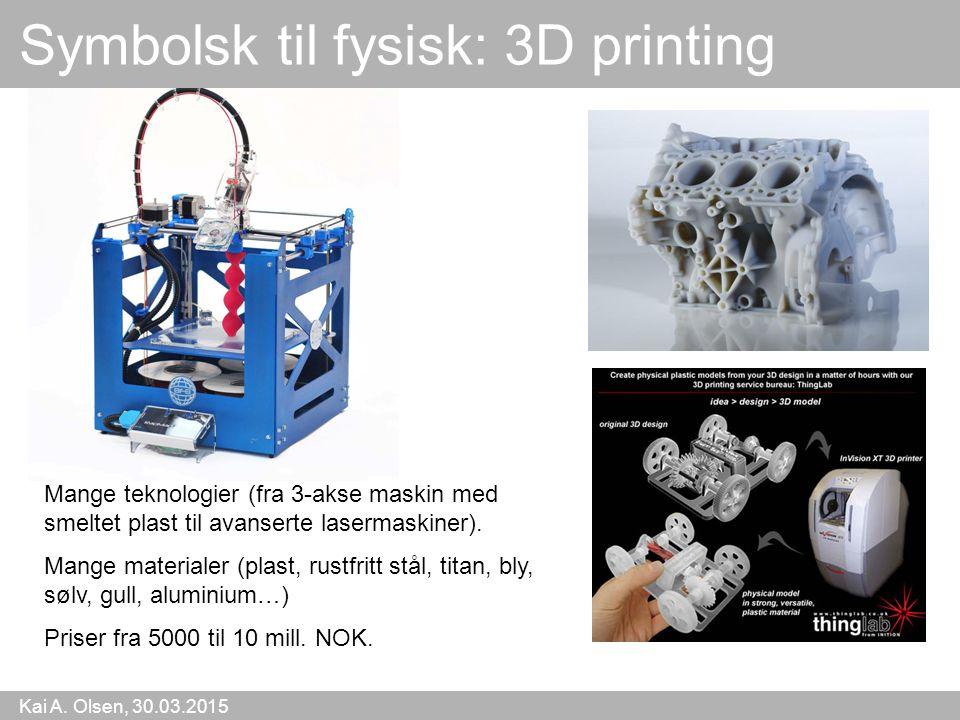 Kai A. Olsen, 30.03.2015 23 Mange teknologier (fra 3-akse maskin med smeltet plast til avanserte lasermaskiner). Mange materialer (plast, rustfritt st
